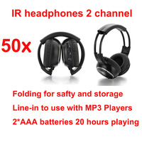 universal Infrared Stereo Wireless Headphones Headset IR in Car roof dvd or headrest dvd Player two channels( 50pcs headphones )