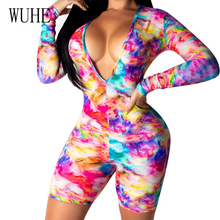 WUHE Women Summer Casual Vintage Playsuits Print Sexy Deep V Neck Long Sleeve Jumpsuit Rompers Bohemian Bodycon Female Playsuit
