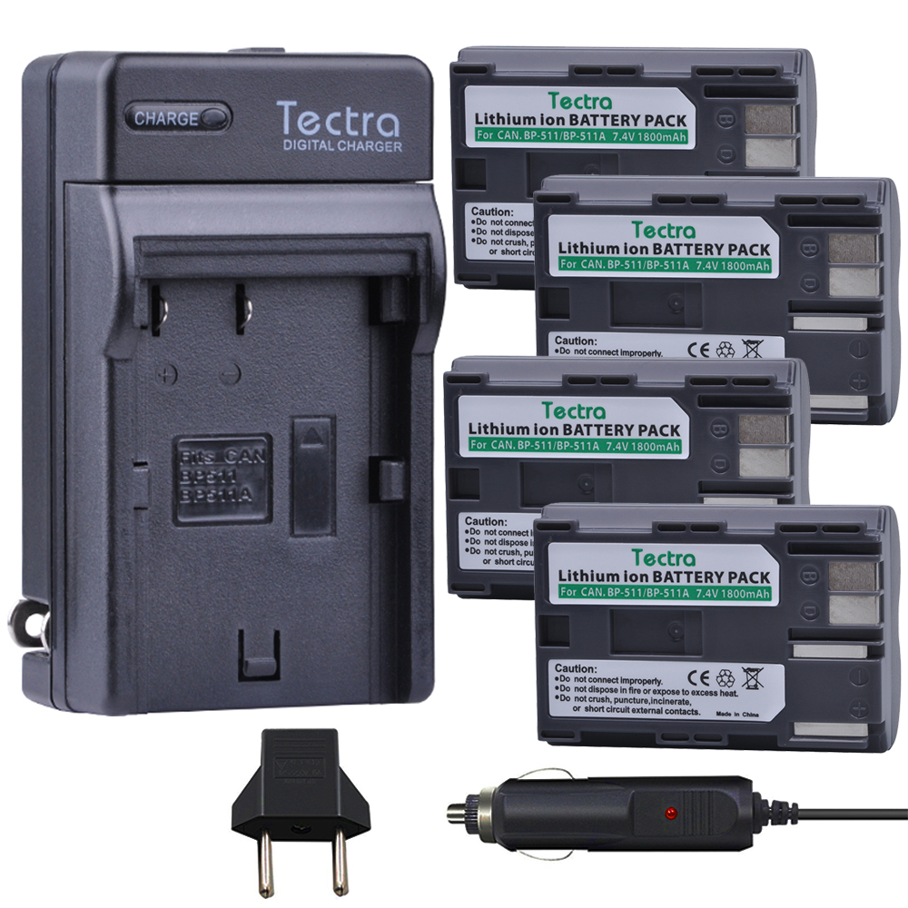 Tectra 4 x BP 511 BP 511A Li ion Battery Digital Charger for Canon Camera G6