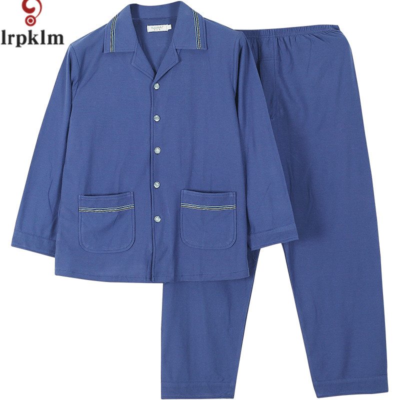 2017 New pyjamas boys Man Big Size Pajamas L-5XL Loose Men's Home Clothing Sets Of Cotton High-Quality Fabric Blue Pajamas WM862 the fall of 2015 to launch new products design high quality loose big yards the cowboy cotton women s nine minutes of pants