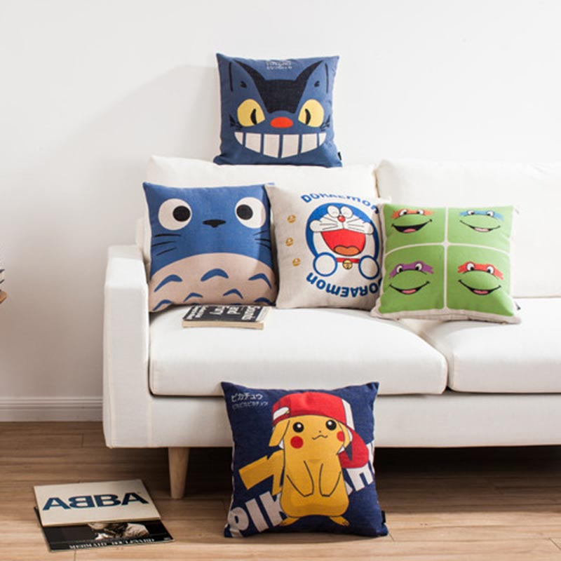 Hot Sale Pillows japanese Totoro cushion Cartoon Pokemon Almofadas Pikachu Linen Pillow Decorative Linen Cushion Cover 18inches
