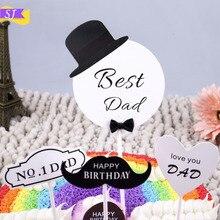1 set of best dad happy birthday cake card black beard hat heart shape decoration dessert table personality dress up