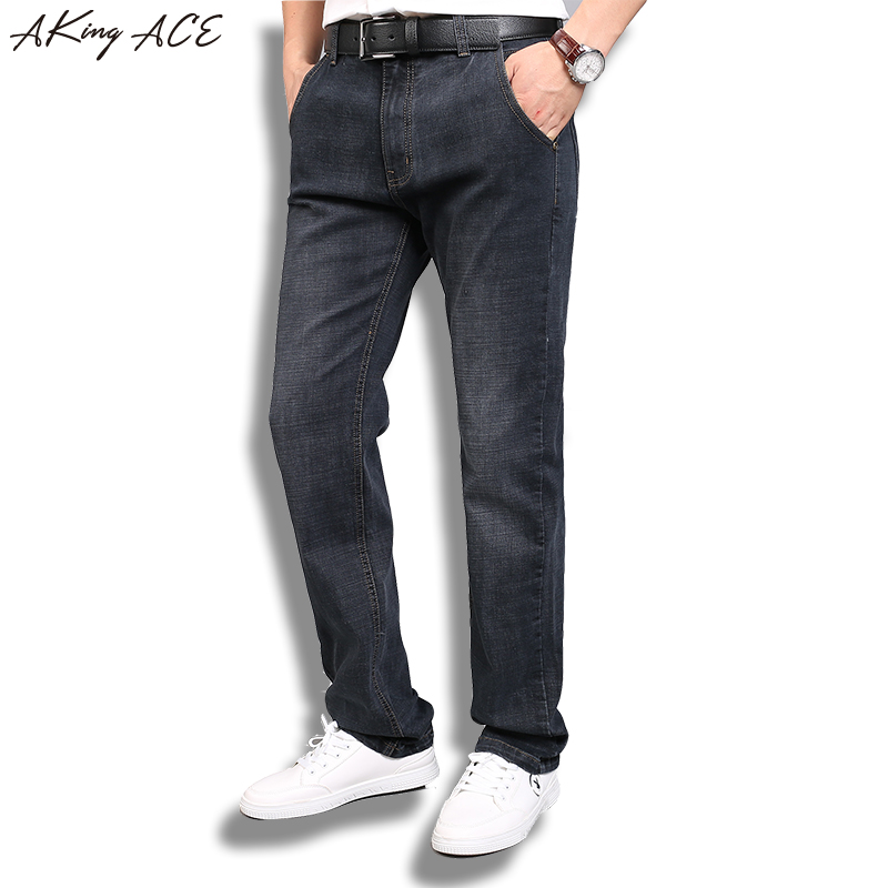 2017 AKing ACE Black Denim Jeans Men Brand Stretch Straight Jeans Pants Mens Classic Jeans Trousers Plus Size 40 42 ZA318 цены онлайн