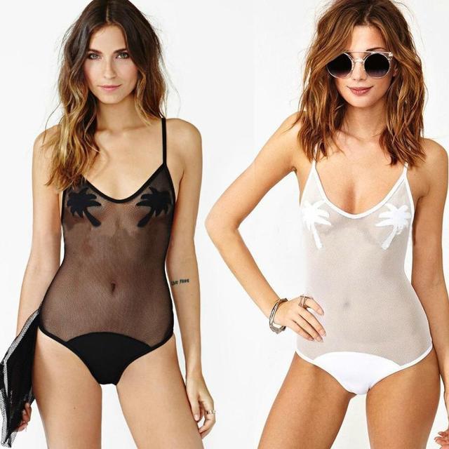 07d827be8e0f6 Sexy bodysuit mesh sheer one piece swimsuit with coconut tree swimwear women  bather bathing suit beach wear  LT341