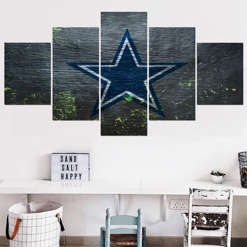 5 Panel Dallas Cowboys Canvas Prints Painting Wall Art Nfl: 5 Panel New Dallas Cowboys Canvas Painting Calligraphy