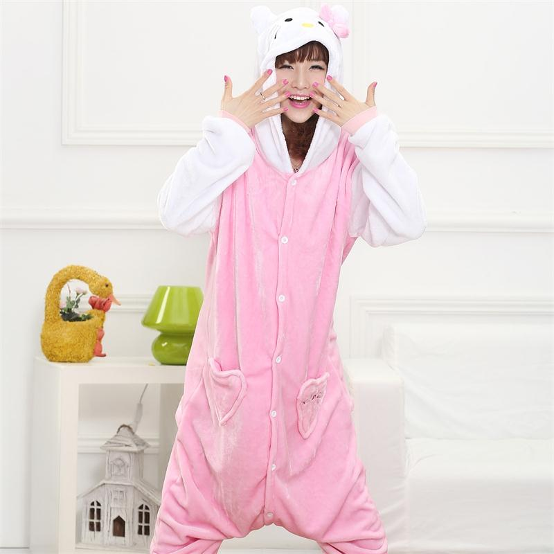 Hello Kigurumi Costume Adult Girl Women Flannel Warm Soft Animal Onesie Onepiece Overall Winter Jumpsuit Anime Cosplay