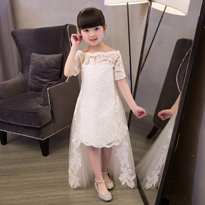 Shoulderless Girls Prom Dresses Short Sleeves Girls Dress Summer 2017 New Princess Wedding Party Dress Trailing Detachable QX192