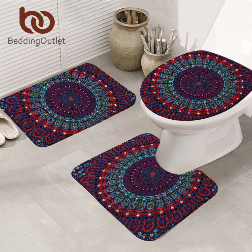 Red Bathroom Rug Us 15 9 30 Off Beddingoutlet Mandala Bath Mat Absorbent Non Slip Bathroom Mat Set Purple Blue Red Toilet Cover Rugs Bohemian Carpet 3pcs Set In Rug