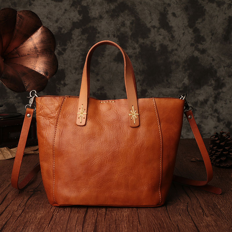 55ba7fc0fc0a AETOO Japanese art first layer of leather handbags 2017 ladies shoulder bag  large capacity simple tote bag leather handbag-in Top-Handle Bags from  Luggage ...