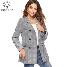 ROGREZ 2018 New Suit Tops Long Sleeve Triple Breasted Plaid Pattern Elegant Casual Women Coats Female Slim Jackets Autumn