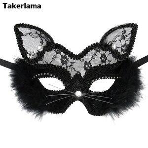 Image 1 - Takerlama Luxury Venetian Masquerade Mask Women Girls Sexy Lace Black Cat Eye Mask for Fancy Dress Christmas Halloween Party