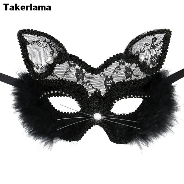 42ebde396 Takerlama Luxury Venetian Masquerade Mask Women Girls Sexy Lace Black Cat  Eye Mask for Fancy Dress Christmas Halloween Party