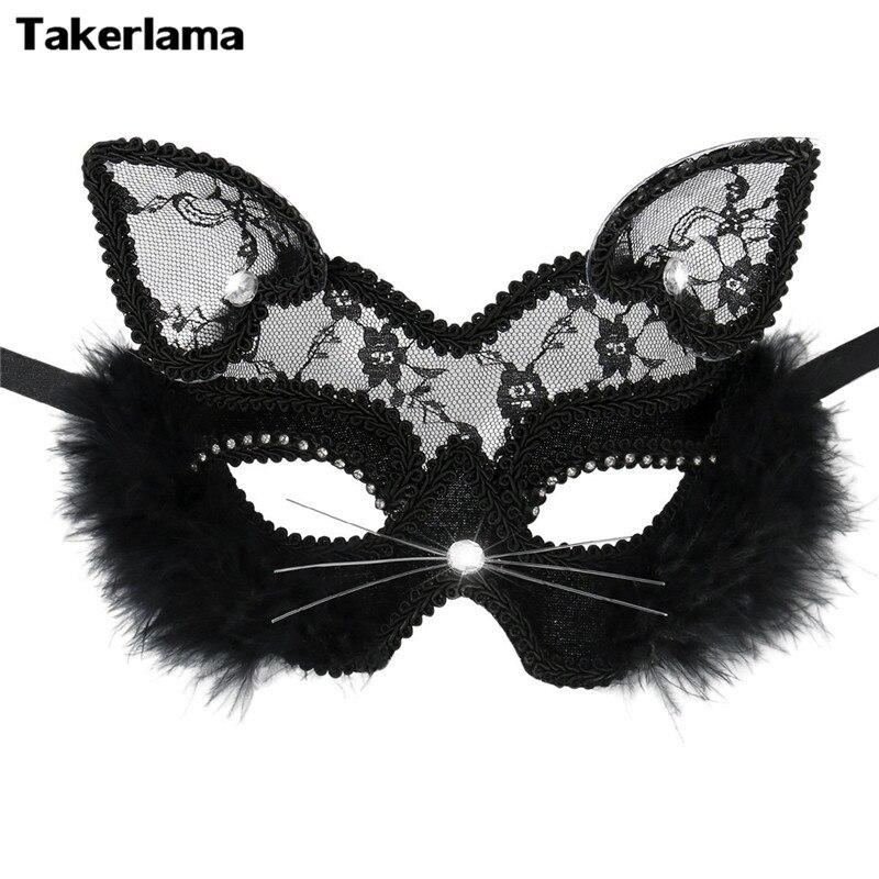 Takerlama Luxury Venetian Masquerade Mask Women Girls Sexy Lace Black Cat Eye Mask for Fancy Dress Christmas Halloween Party