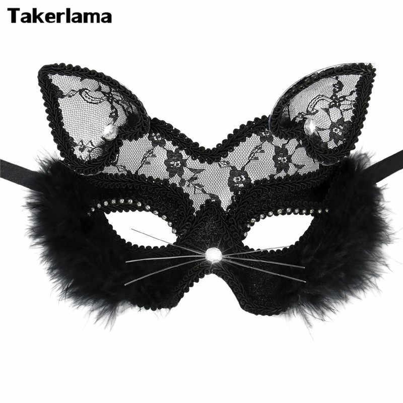 Takerlama luxe vénitien mascarade masque femmes filles Sexy dentelle noir chat oeil masque pour déguisement noël Halloween fête