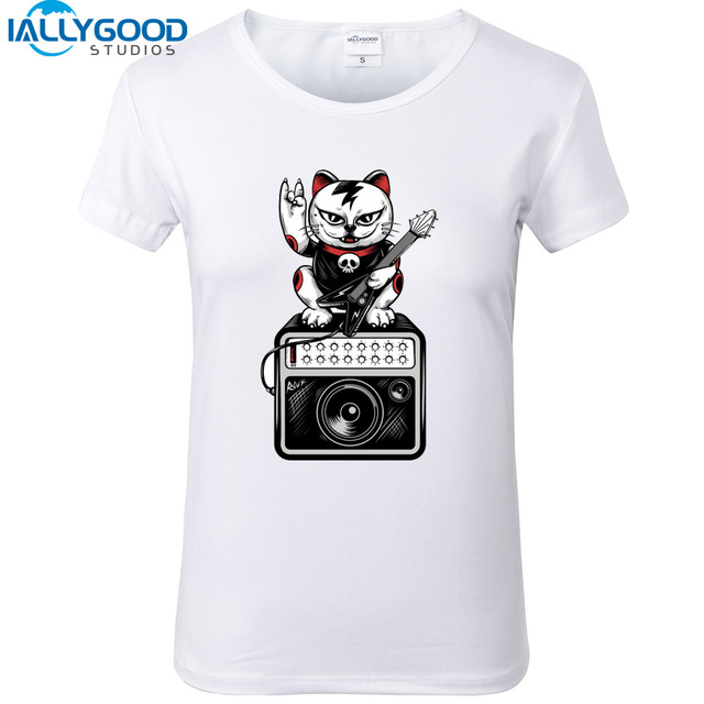 0bfeca7d New Summer Fashion Design Lets Rock T-Shirts Funny Crazy Cat Print T-Shirts  Women White T shirt Casual Cotton Shirts Tops S936