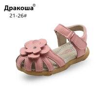 Apakowa/летние детские сандалии из натуральной кожи для девочек; ортопедическая обувь на плоской подошве для маленьких девочек; пляжная обувь для бассейна; Новинка