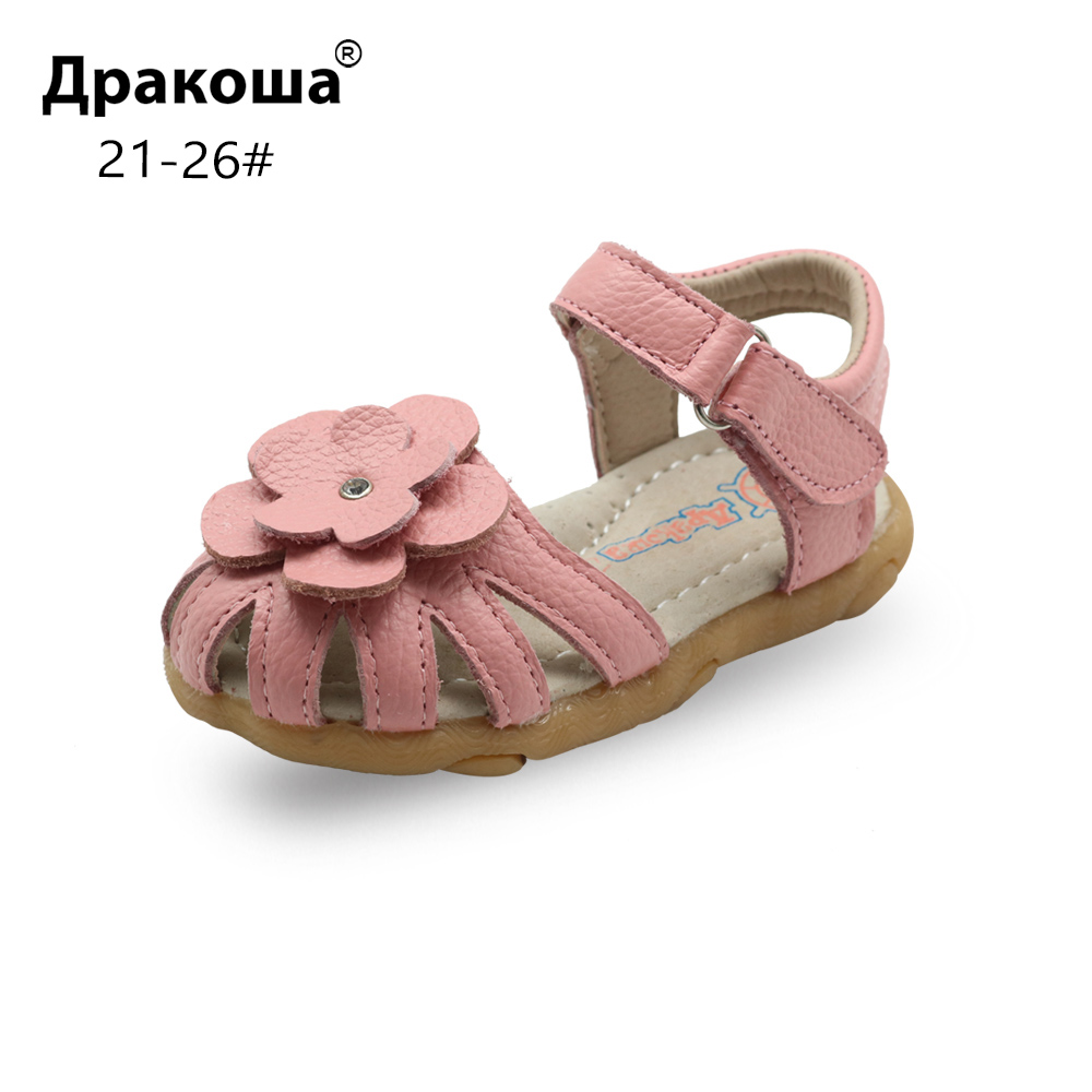 Apakowa Summer Genuine Leather Kid's Sandals for Girls with Arch Support Toddler Girl's Orthopedic Flat Shoes Beach Pool New