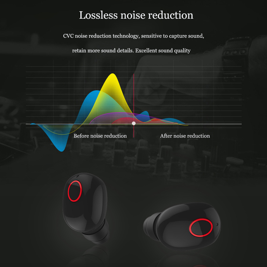 Caletop TWS Wireless Bluetooth 5 0 Earphones CVC Noise Cancelling In Ear Headset With Charging Case HIFI Stereo Music Earbuds in Bluetooth Earphones Headphones from Consumer Electronics