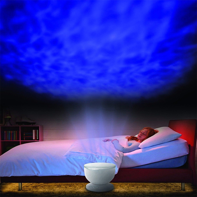 Romantic LED Projector nightlight children's  with MP3 Speaker USB Ocean Wave Lamp With Speaker Colorful Night Light