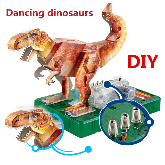 Jurassic World Park DIY Assembly 3D Origami Electric Dancing Dinosaur Kingdom Tyrannosaurus Rex Model Kids Child