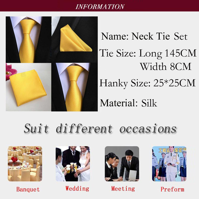 Factory Luxury Men S 100 Silk Tie Set Ties Handkerchief Pure