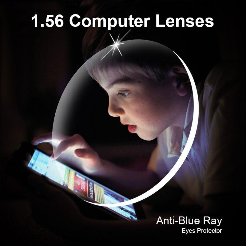 Gafas ópticas con prescripción de rayos azules 1,56 lentes 1 par de lentes Rx-able ensamblaje libre con marco de gafas