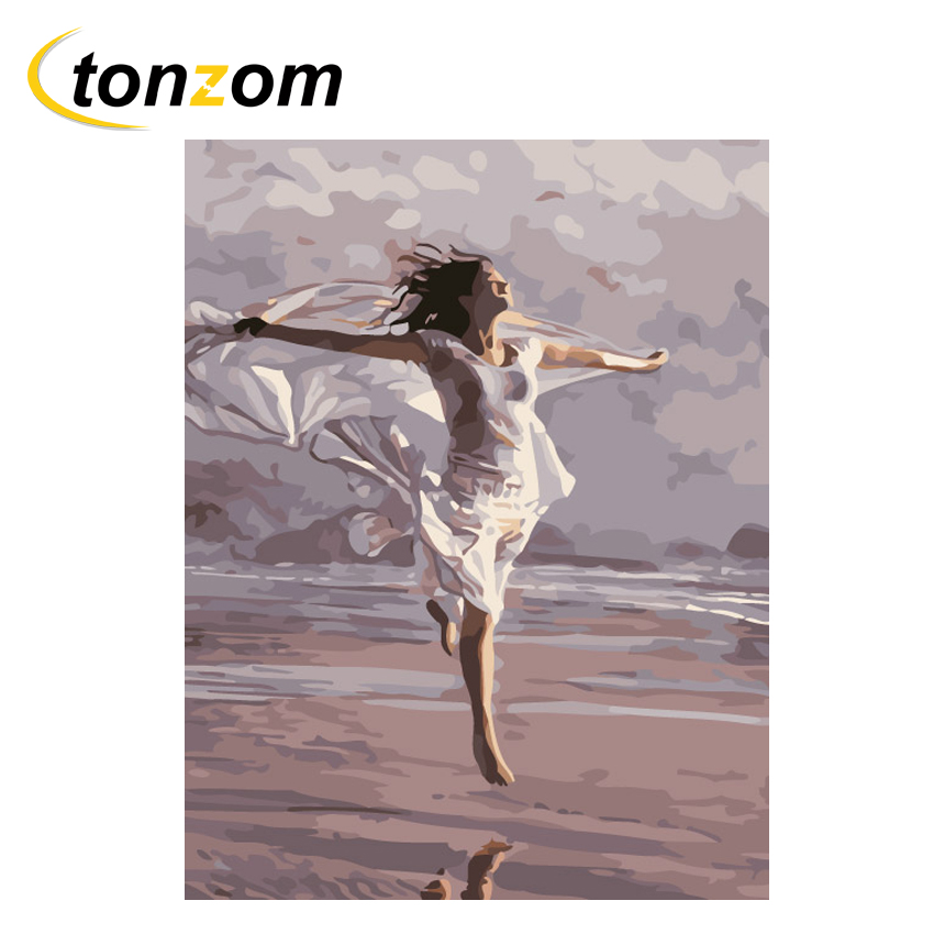 RIHE Beach Jumping Girl Diy Painting By Numbers Oil On Canvas Hand Painted Cuadros Decoracion Acrylic Paint Home Art