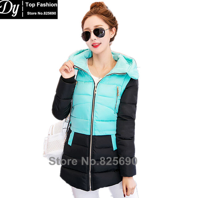 New Wadded Winter Jacket Women Cotton Jacket Fashion 2017 Girls Padded Slim Plus Size Hooded Parkas Female Coat  6 Color