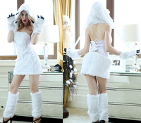 Free Shipping 2015 Sexy Animal Costumes White Ape Man Cosplay Costumes Polar Bear Costumes Halloween Costumes