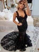 Платье vestido de noche 2019 сексуальное вечернее платье с открытой спиной Длинные Русалка Кружева платье для выпускного вечера черные вечерние пла