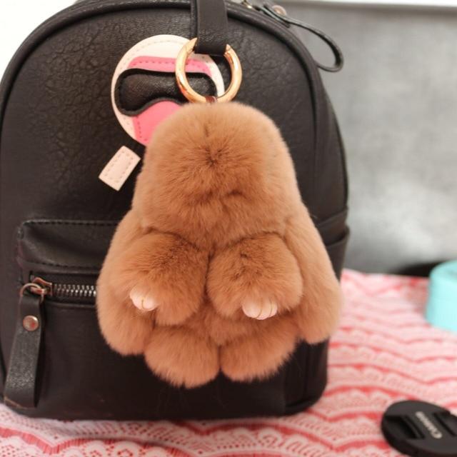Pom pom  Bunny  Handbag charm camel fluffy keychain Rabbit Fur keyring Khaki fur cham Car Keychains Backpack Wallet Pendants