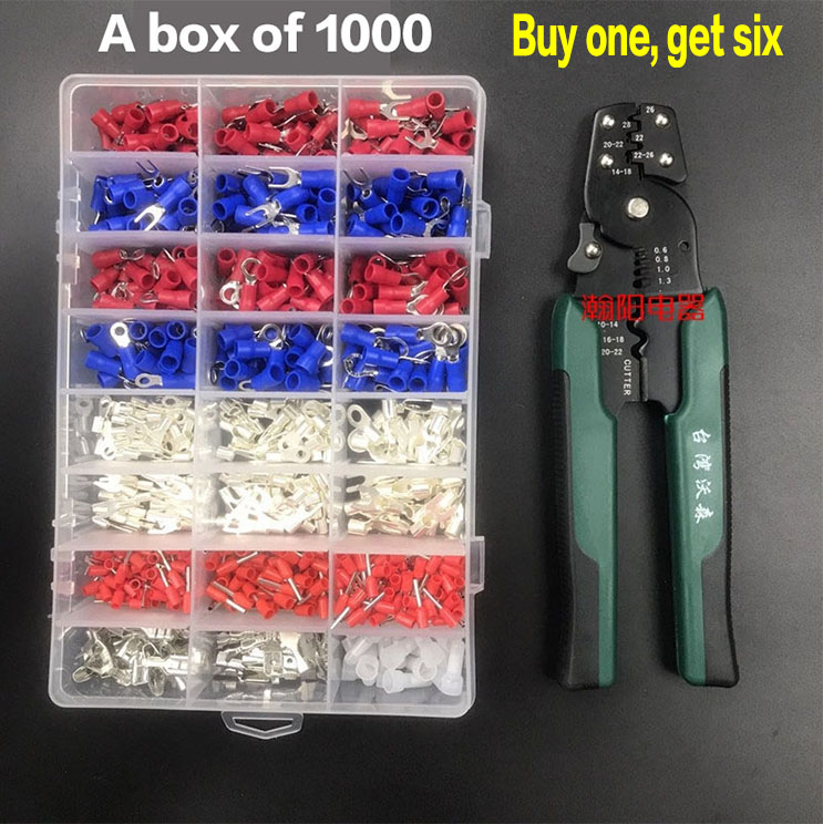 цена на 1000pcs Crimp Wire Connector Kit Insulated Terminal Spade Fork Ring Assorted Terminal Socket Set with crimping pliers