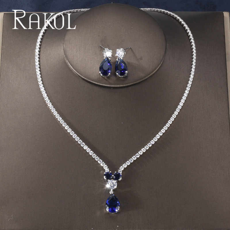 RAKOL New Fashion Luxury AAA Zircon Water Drop Shape Necklace Earrings jewelry Set for Women Party wedding Dress Accessories