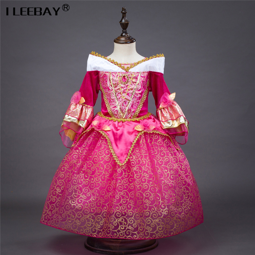 Fashion Girl Dress Sleeping Beauty Aurora Princess Three Quarter for Kids Girl Party Dress Christmas Girls Cosplay Costume 3-10y girls sleeping beauty princess cosplay party dresses children long sleeve aurora costume clothing kids tutu dress for christmas