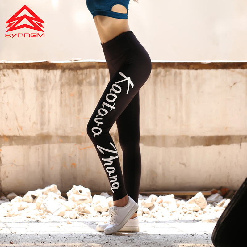 Syprem New Fitness Tight Pants High Waist Compression Black Pants Gym Clothes Sexy Running Yoga Printing Leggings,WY0460