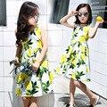 Chica nuevo patrón de verano de algodón mango lemon vestido sin mangas