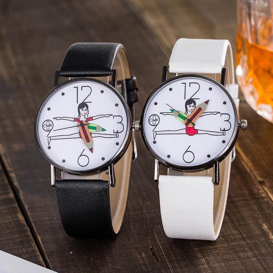 Band  Strap Watch Analog Wrist Watch CMK Women's Casual Quartz Leather Geneva Roman Numerals Clock