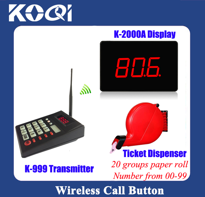 Simple Electronic queue paging system display receiver with keyboard and ticket dispenser(number 00-99) restaurant equipment