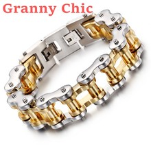 Granny Chic New Cool Men Biker Bicycle Motorcycle Chain Men's Bracelet & Bangle Fashion Silver Gold 316L Stainless Steel Jewelry