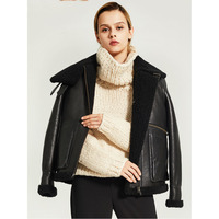 Denny&Dora Womens Winter Warm Short Sheepskin B3 Shearling Jacket Coat Shearling Moto Jacket