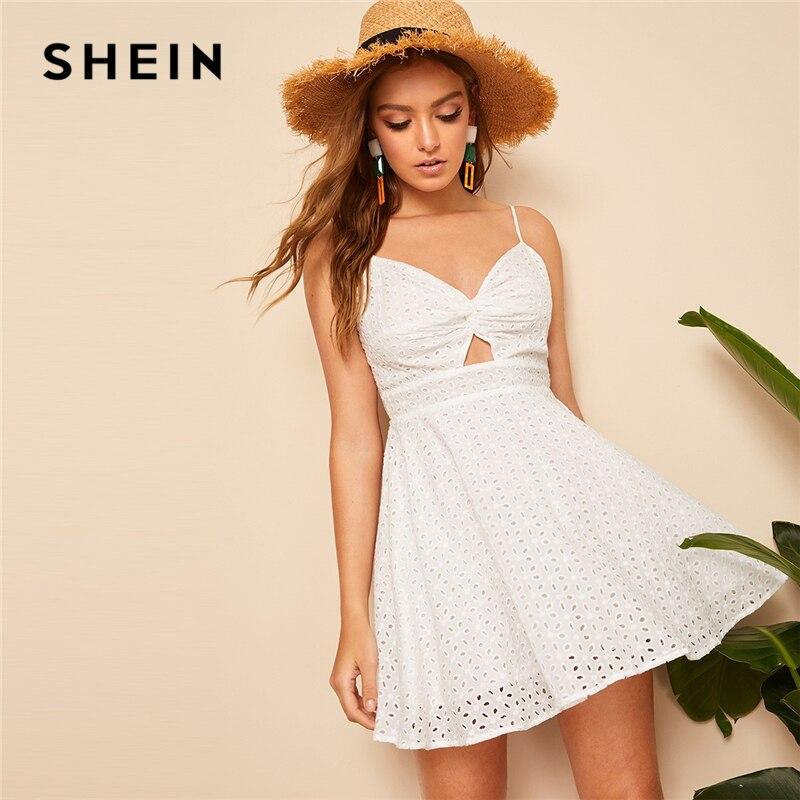 SHEIN Boho/белое платье с узлом на спине, Peekaboo Schiffy, летние кружевные вечерние платья, женские облегающие и расклешенные однотонные сексуальные п...