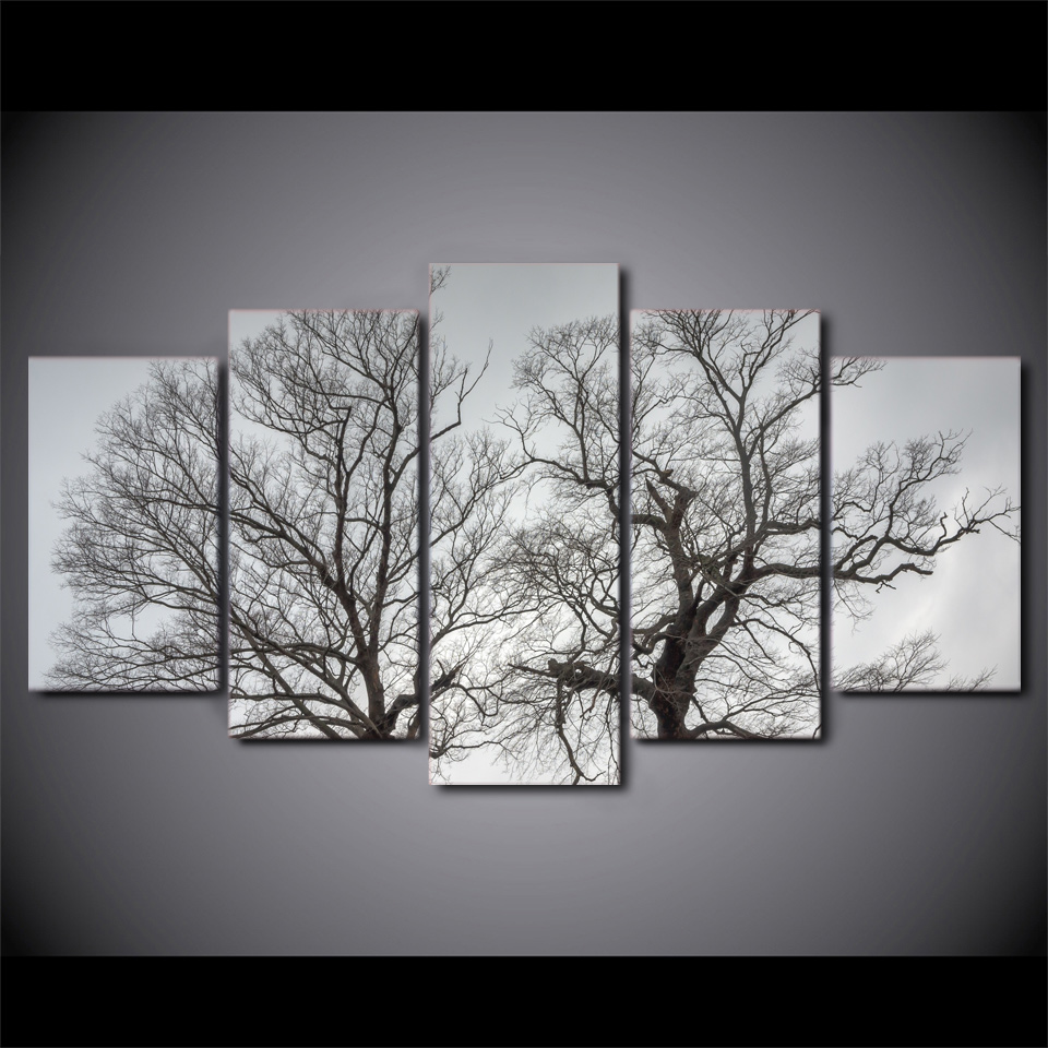 5 Piece Printed landscape tree Painting Sitting Room Decor Print Poster Picture Canvas Painting Home DecorationFREE ART-Five23