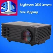 China Stock 3D Projector 1080P HD Digital Home Theater Multimedia LED proyector 2000 lumens USB HDMI 3D projektor 1500:1