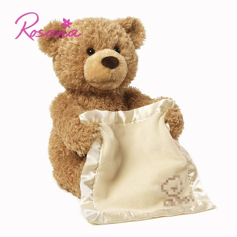 30 cm Peek Boo Falando Ursinho de Pelúcia Boneca Bichos de pelúcia Urso Tímido Esconder Buscar Musical Play Toy Presente para crianças Dos Miúdos Amigo