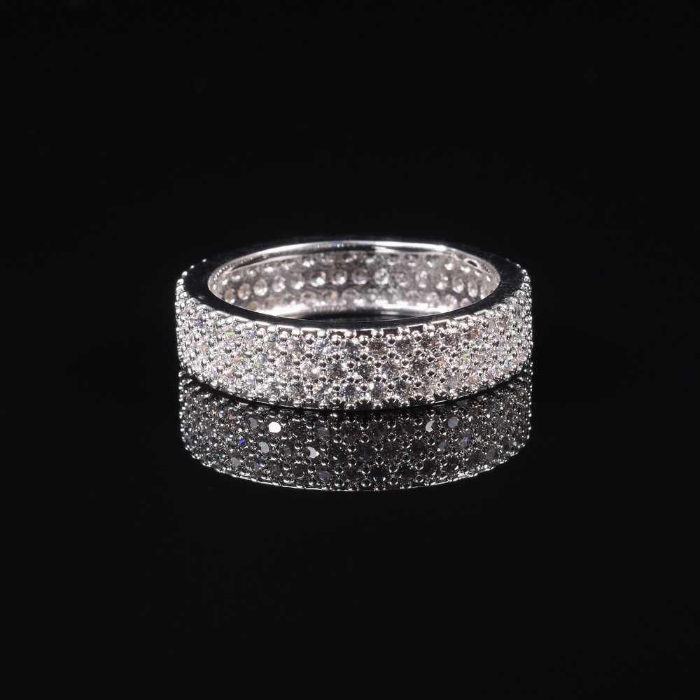 Luxurious 10k White Gold Plated 3 Rows Pave Setting Simulated Diamond Stone Ring Women For Elegant Wedding Band Ring Jewelry Rings Aliexpress
