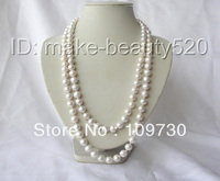 Jewelry 00972 Wow 46 11mm round white Edison keshi reborn cultured pearl necklace