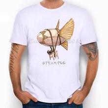 Fashion Short Sleeve  steampunk pug Printed T-shirt