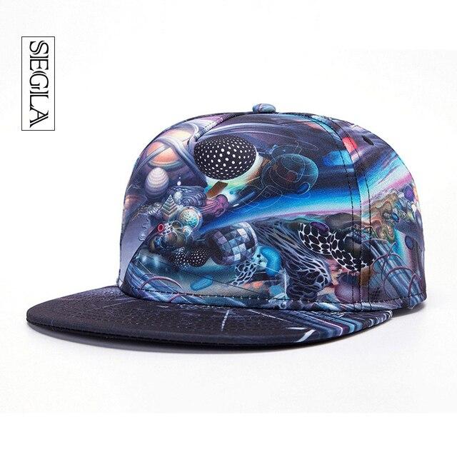 SEGLA Хип-Хоп Cap Регулируемая Широкими Полями 3D Galaxy Вселенная Casquette Спорт Открытый Дружище Шляпа Солнца Унисекс Snapback Бейсболки