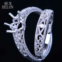 HELON Ladies Filigree Band Solid 14k White Gold 8mm Round Semi Mount Fine Ring Diamonds Engagement Wedding Bnad Duo Set