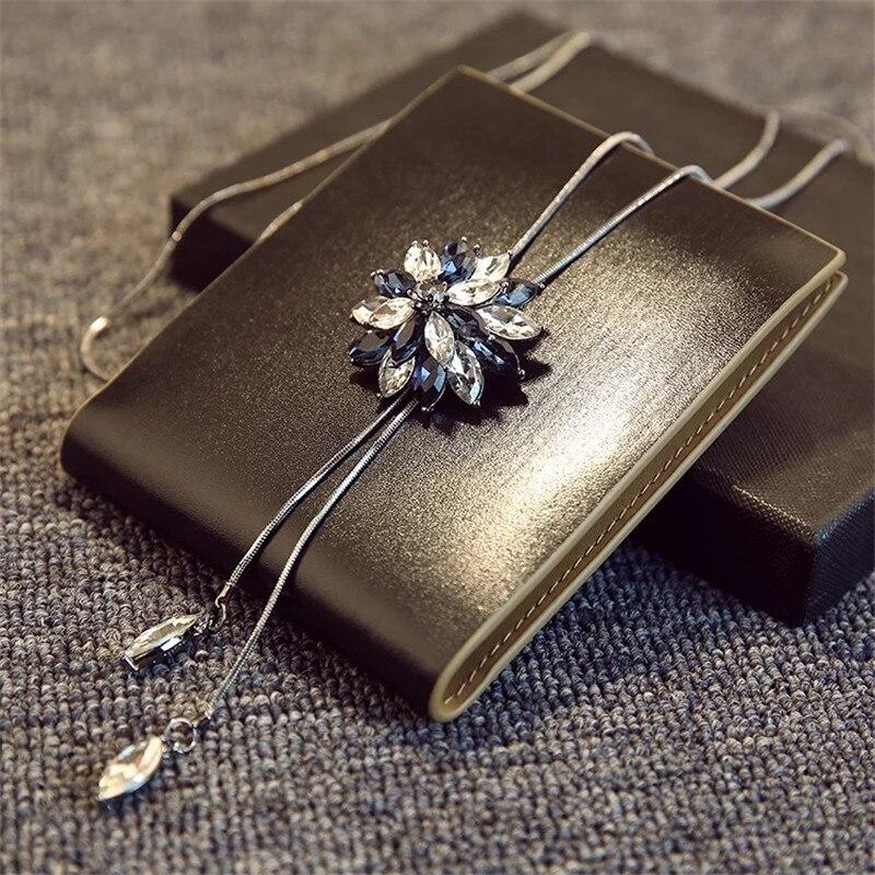BYSPT Snefnug Lang Halskæde Mode Krystalblomst Swan Tulip Vedhæng - Mode smykker - Foto 4